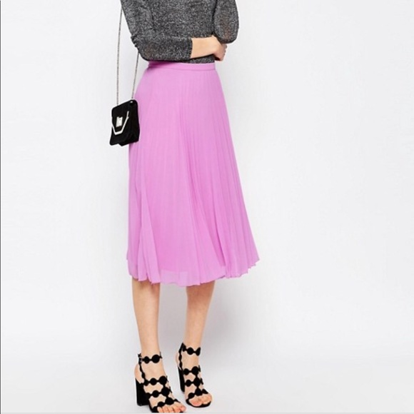 061e52447 ASOS Dresses & Skirts - ASOS Pleated Midi Skirt Bright Lavender/Pink Flowy